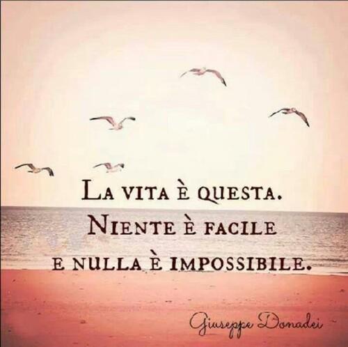 """""""La vita è questa. Niente è facile e nulla è impossibile."""""""