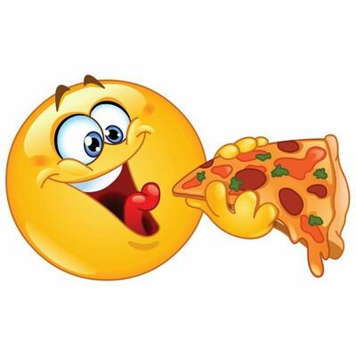 """""""Emoticon affamata che mangia la pizza"""" - Smiley per Facebook"""