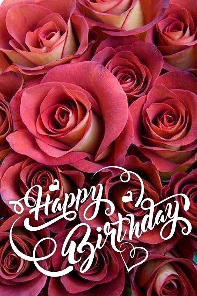 """""""Happy Birthday"""" - Buon Compleanno in inglese con le rose rosse"""