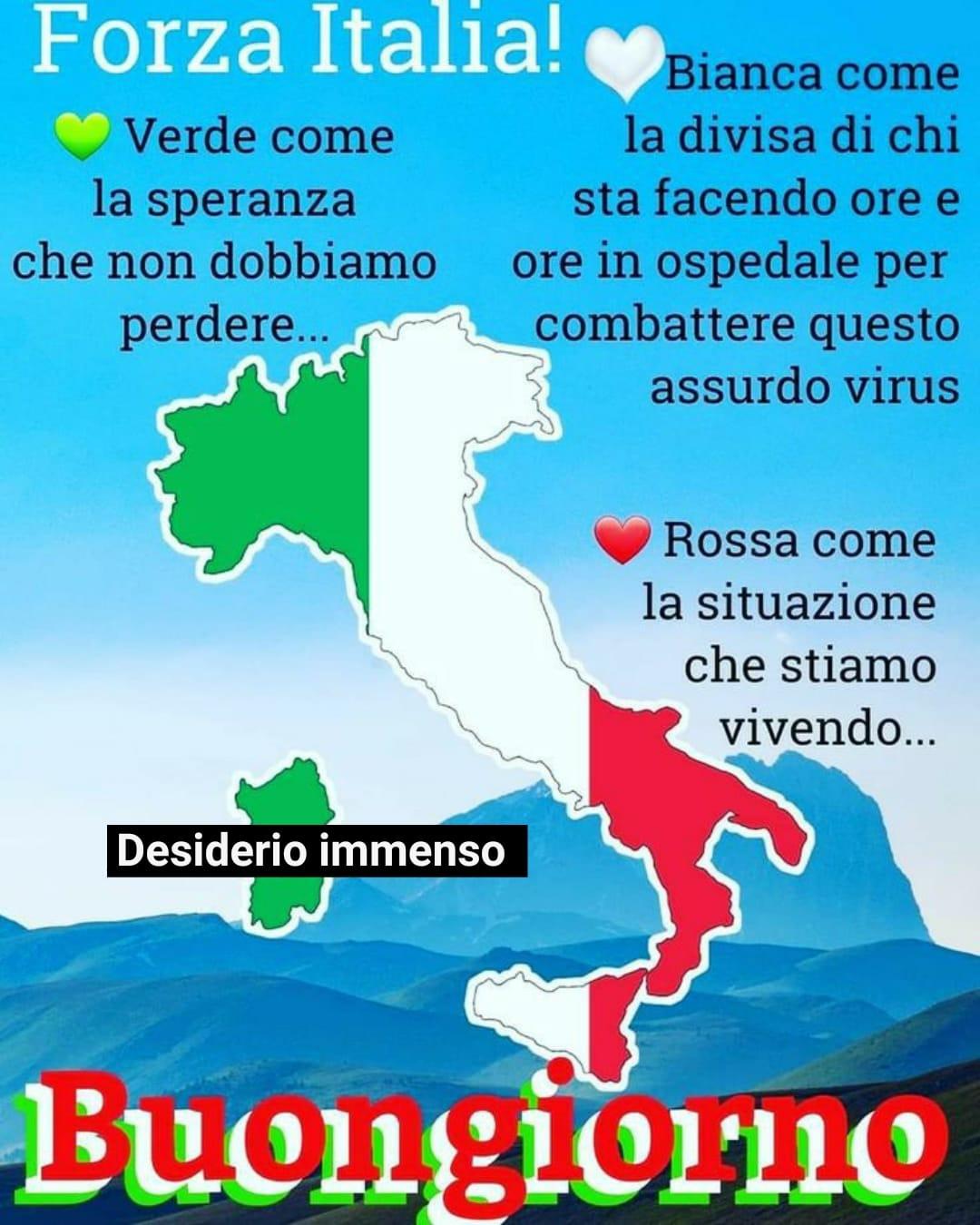 """""""FORZA ITALIA! Verde come la SPERANZA che non dobbiamo mai perdere. Bianca come la divisa di chi sta facendo ore e ore in ospedale per combattere questo assurdo virus. Rossa come la situazione che stiamo vivendo. Buongiorno"""""""