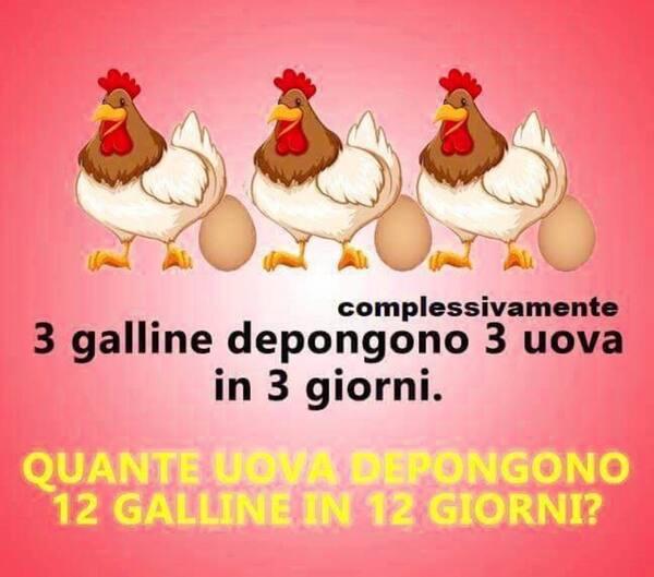 """Test per gruppi Facebook - """"Complessivamente 3 galline depongono 3 uova in 3 giorni. Quante uova depongono 12 galline in 12 giorni ?"""""""