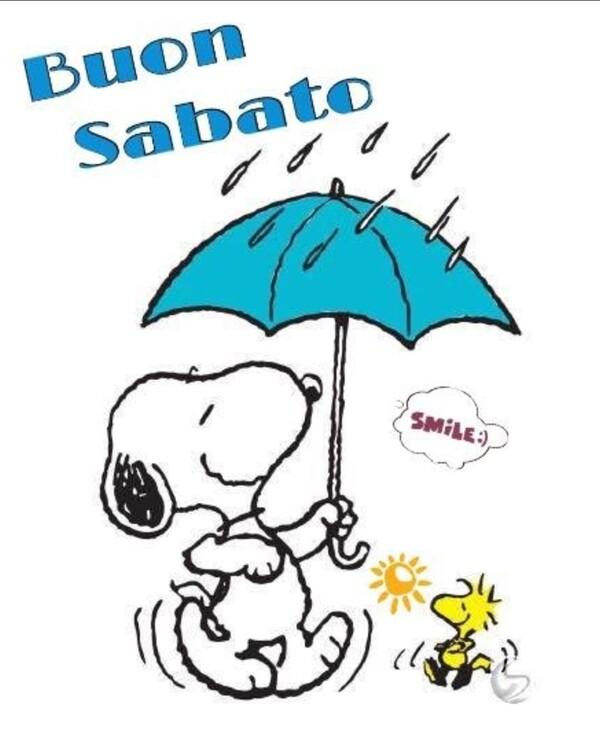 """""""Buongiorno e Buon Sabato con la pioggia"""" - Snoopy"""