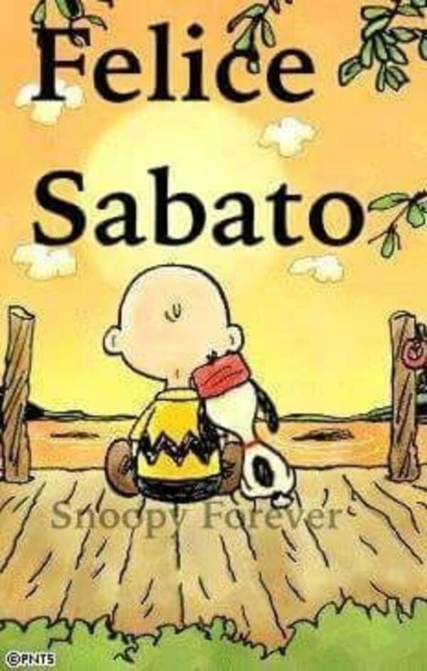 """""""Felice Sabato"""" - con Charlie Brown e Snoopy"""