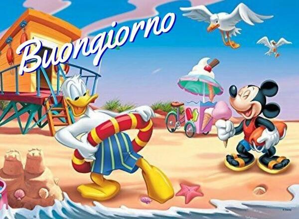 Bellissime immagini di Buongiorno in spiaggia con i personaggi Disney
