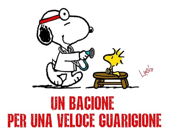 """""""UN BACIONE PER UNA VELOCE GUARIGIONE"""" - Biglietto con Snoopy"""
