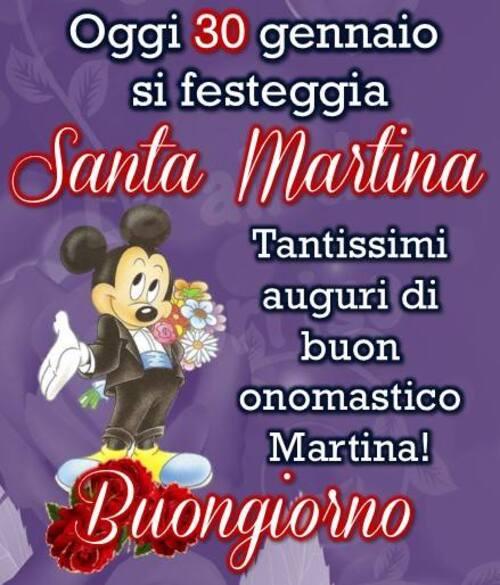 """Santa Martina messaggi di Auguri - """"Oggi 30 Gennaio si festeggia Santa Martina. Tantissimi Auguri di Buon Onomastico Martina! Buongiorno"""""""